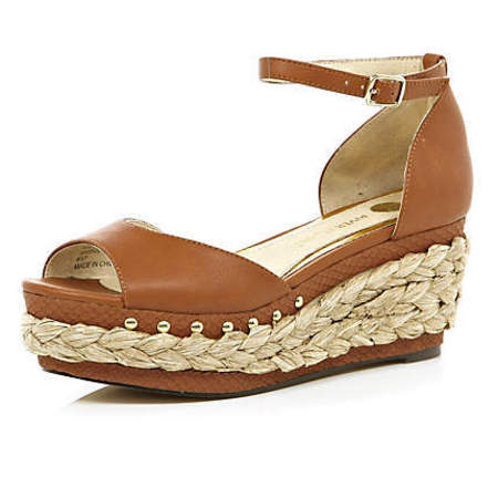 ddb137f6d3c River Island light brown wedge sandals £35.99
