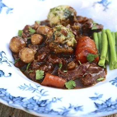 Slow cook beef with dumplings Nadia Sawalha