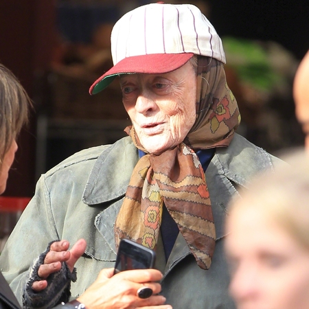 Maggie Smith as a homeless woman on 'The Lady in the Van' Film Set